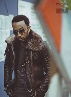 fur collar, leather jacket. amaze. john legend mens fashion