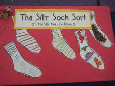 "Each page has a few kid-designed socks on it with the sentence, ""We see _____ socks."" (Great for Fox in Sox)"