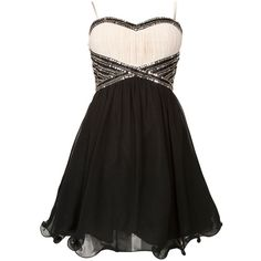 Black and White Embellished Waist Prom Dress by None, via Polyvore