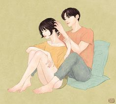 Artist Zipcy captures the intimacy between a couple in her relationship drawings. Each couple illustration shows the personal moments between the pair. Painting Love Couple, Art Love Couple, Anime Love Couple, Couples In Love, Love Art, Paar Illustration, Comics Illustration, Illustration Art Nouveau, Couple Illustration