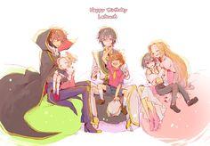 Code Geass - Suzaku, Lelouch, and Nunnally #alternateage #sitting #hug