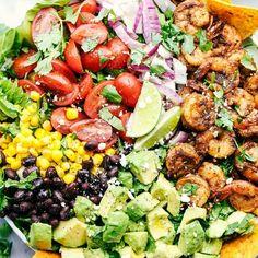 Shrimp Avocado Taco Salad
