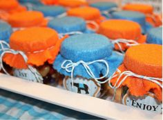 Party Favors- first birthday party,empty baby food jars, filled with treats, and topped off with cute labels and fabric for perfectly sized jars of sweets that guests could take home. Orange Birthday Parties, 1st Birthday Party Favors, Baby 1st Birthday, First Birthday Parties, Birthday Ideas, Party Favours, Circus Birthday, Summer Birthday, Blue Party