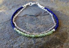 Lapis and peridot bracelet, beaded gemstone bracelet, gemstone stacking bracelet, beaded friendship bracelet, silver and lapis bracelet by TamDavisDesigns on Etsy