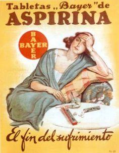 """Tabletas """"Bayer"""" de Aspirina. El fin del sufrimiento."""