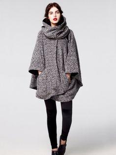 Lindsey Thornburg Mid Length Black and White Herringbone Alpaca Cloak | Made in USA