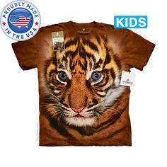 Big Face Sumatran Tiger Cub Kids T-Shirt