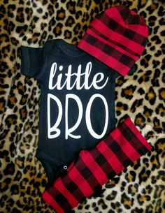 Boy Hospital Outfit / Red Black Buffalo Plaid Pant + Beanie + Little Bro OR Custom Top Baby Boys Clothing, Little Bro Bodysuit Buffalo Plaid Hospital Outfit, Red & Black Buffalo Plaid Legging with Matching Beanie and Creeper Baby Girl Pants, Baby Boy Shoes, Baby Boy Outfits, Baby Jeans, Buffalo Plaid, Leggings, Bro, Black Baby Boys, Boy Onesie