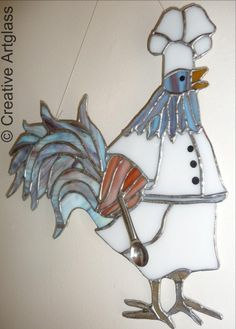 Stained Glass Rooster Chef CreativeArtglass - Glass on ArtFire