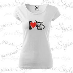 Trendy dámské tričko s králíčkem, zakázkový potisk s možností dotisku na přání jménem vašeho mazlíka Trendy, Your Style, T Shirts For Women, Tops, Fashion, Moda, Fashion Styles, Fashion Illustrations