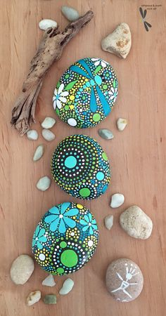 Hand Painted Stone trio - $24 with FREE USA Shipping. Original Rock Art by ethereal & earth - otherworldly & of this world creations! Dot Art Painting, Pebble Painting, Texture Painting, Pebble Art, Stone Painting, Hand Painted Textures, Hand Painted Rocks, Mandela Rock Painting, River Rock Crafts