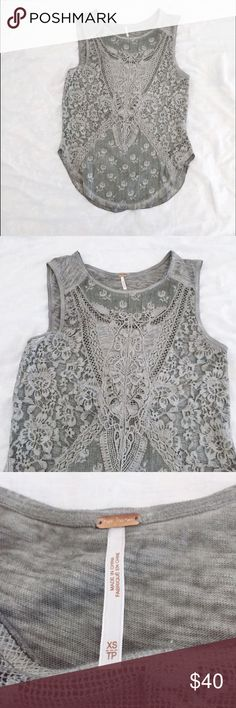 Free People Lace Top Pre-loved ❤️ great condition! Free People Tops Tank Tops