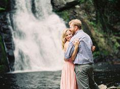 Jess Adam Waterfalls Mossy Glen Engagement Session Bushkill Falls