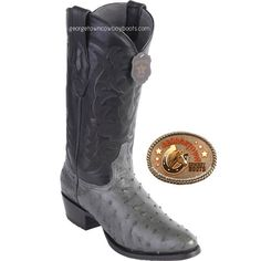 8af7549f3c Mens Los Altos Gray Full Quill Ostrich Round Toe Western Boots 650309