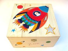 Rocket memory box, Large children's keepsake Box, Personalised memory box, Hand-painted wooden trinket box, Rocket and space design Personalised Memory Box, Wooden Memory Box, Wooden Keepsake Box, Keepsake Boxes, Ceramic Boxes, Wooden Boxes, Painted Boxes, Hand Painted, Xmas Gifts