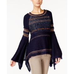Free People Craft Time Bell-Sleeve Sweater (€120) via Polyvore featuring tops, sweaters, navy, blue sweater, navy top, bell sleeve tops, free people sweaters and navy blue sweater