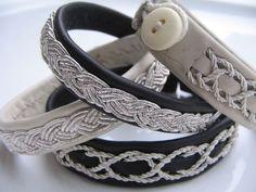 Armband mit geflochtenem Silberfaden & Knopf * Handarbeit * schwarz beige *