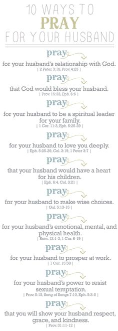 How to pray for your husband. Great things to pray even before you meet him and he's still only a thought in your mind!