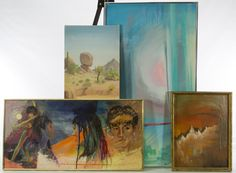 """Lot 304: Lily Tolpo (American, b.1917) Painting Assortment; Four paintings including 1979 """"Balance Rock"""" oil on board signed lower left, 1964 """"Vivali Concerto"""" oil on board signed lower right, 1965 """"Tina the Showgirl"""" acrylic on canvas signed lower right and a 1981 """"Easter"""" acrylic on board signed landscape"""