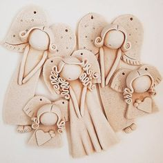 Holiday Crafts For Kids, Christmas Crafts, Clay Angel, Pottery Angels, Salt Dough Crafts, Mermaid Ornament, Ceramic Angels, Angel Crafts, Cute Clay