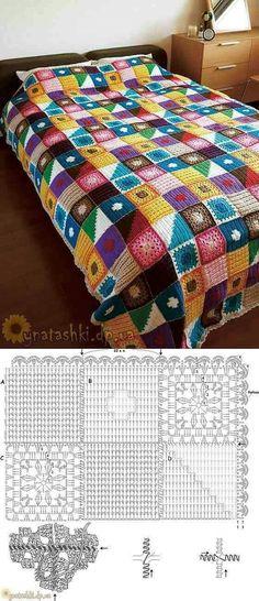 ideas for crochet blanket colors schemes granny squares Crochet Afghans, Crochet Bedspread, Crochet Quilt, Crochet Blocks, Crochet Squares, Crochet Granny, Crochet Blanket Patterns, Crochet Motif, Crochet Designs