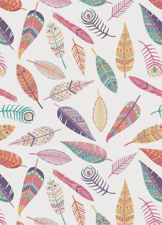 Feather Pattern by Emily Kiddy. Motifs Textiles, Textile Patterns, Prints And Patterns, Textile Design, Surface Pattern Design, Pattern Art, Cute Wallpapers, Wallpaper Backgrounds, Phone Wallpapers