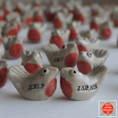 HELP JAPAN Birds by makiko hastings, so far 1500 of them have flown to new homes to support Japan's recovery from the devastating earthquake. All proceeds were donated to Minamisanriku Cho, one of the most damaged towns in North of Japan.