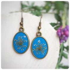 Ohrhänger+echte+wilde+Möhre+Blumen+blau+von+Kiezelfen+*Schmuck+&+Accessoires+auf+DaWanda.com