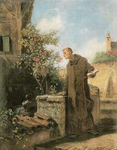 Carl Spitzweg - Mönch, an Rose riechend