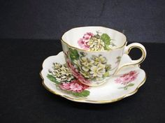 Teacup China Set  Cup and Saucer   Geranium  Made in ♥ by lasadana, $29.00