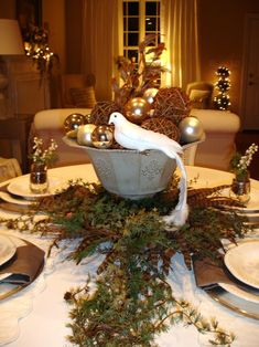 Here are the Rustic Christmas Table Settings Ideas. This article about Rustic Christmas Table Settings Ideas was posted under the … Christmas Table Centerpieces, Rustic Centerpieces, Christmas Table Settings, Christmas Tablescapes, Centerpiece Decorations, Holiday Tables, Decoration Table, Christmas Decorations, Holiday Decor