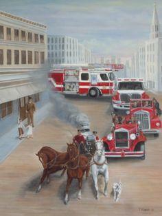 """ To The Rescue Then and Now "" Firefighter Art Firetruck Firegear Helmet Prints | eBay"