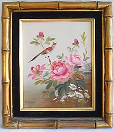 Vintage Painting Floral Ornithology Pink Flowers Bird  Gold Bamboo Frame  Ghan  | eBay Antique Picture Frames, Antique Frames, Pink Painting, Fashion Painting, Pink Art, Pink Flowers, Paper Art, Original Artwork, Bamboo