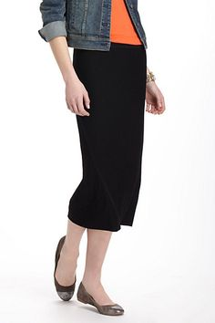 Midi Tube Skirt #anthropologie. Love the simple black lines.