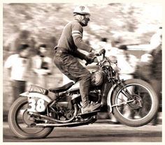 """WINNER OF THE FIRST DAYTONA 200 IN 1937.AtGodspeed Motorcycleswe like Ed """"Íron Man"""" Kretz, and look foreward to the movie about his life:http://www.kretzmovies.com/documentary/"""