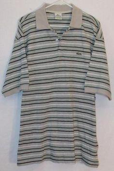 Mens Lacoste Short Sleeve Polo Golf Shirt 9 XXXL 3XL Striped Croc Crocodile