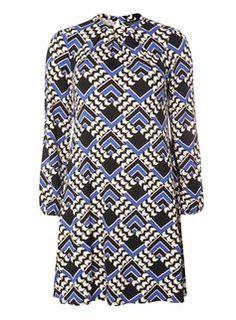 Cobalt Geometric Swing Dress