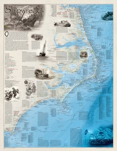 National Geographic - Shipwrecks of the Outerbanks Map Poster Poster at AllPosters.com