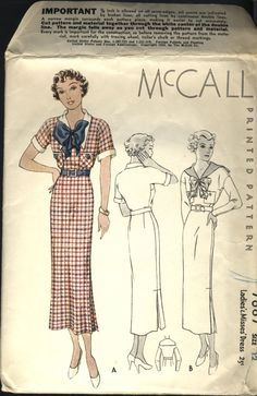 VINTAGE 1930s  McCall Printed Pattern Ladies by fadedrosevintage