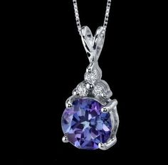 Alexandrite Round Cut Cubic Zirconia Accent Sterling Silver Pendant