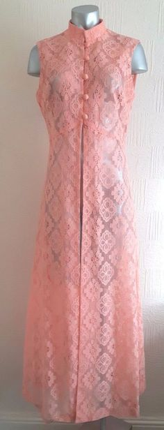 VINTAGE 60S PRETTY PINK SHEER CROCHET LACE HIPPY MOD RETRO GILET MAXI DRESS 12