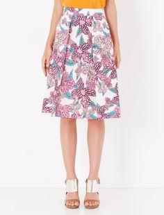 Floral poplin A-line skirt