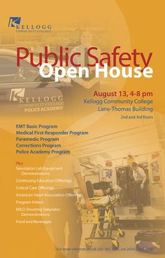 The Emergency Medical Services and Criminal Justice programs at Kellogg Community College invite the public to an open house from 4 to 8 p.m. Aug. 13 in the Lane-Thomas Building on the North Avenue campus in Battle Creek. The free, interactive open house will feature live demonstrations of medical and police training equipment and more.