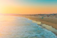 Beach Photography, Palm Tree, Santa Monica Beach, California, Sunset, Warm Summer, Ocean, Waves, Seaside, Blue Ocean