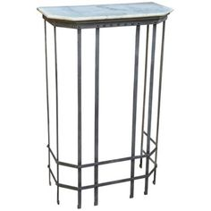 Garden Trellis Antique Gray and Marble Console Table