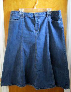 Liz & Co Womens Size 16 Modesty Modest Denim Jean Skirt Full Cut A-Line Stretch #LizCo #FullSkirt