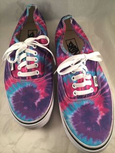 Vans Off The Wall Canvas Tie Die Skateboard Shoes Sneakers Sz. Mens 9 Women 10.5 #Vans #Athletic