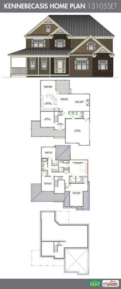 Kennebecasis 3 bedroom, 2-1/2 bath home plan. Features: Open concept kitchen/family/dining room, office and 2-car garage. On the second floor, you will find a large master bedroom with dual walk-in closets & en suite, laundry, 2 bedrooms and bonus room. 2893 Sq.Ft. (13105SET) Kent Building Supplies #HomePlan