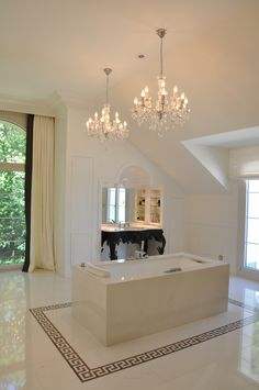 Ivory classical bathroom with marble and chandeliers Bathtub, Interior Design, Luxury, Chandeliers, Switzerland, Projects, Marble, Ivory, House