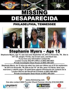 9/25/2013: Stephanie Meyers, 15, is missing from Knoxville, TN.